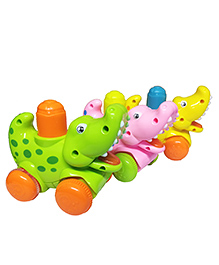 Emob Amazing Press And Go Toy Crocodile Pack Of 3 - Green Pink Yellow