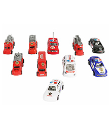 Planet Of Toys Pullback Fire Engine Multicolor - Set Of 10 Cars