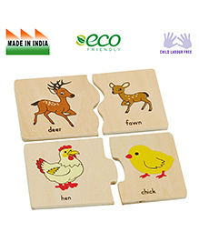 Eduedge Wooden Animal Baby Matching Game - Multi Color