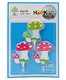 Mushroom Shape Wall Hooks Pack Of 3 - Red Green