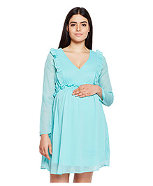 Oxolloxo Maternity Ruffle Solid Dress - Light Green