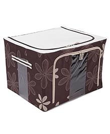 Square Shape Storage Box Floral Print - Dark Brown