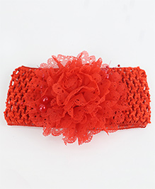 Tia Hair Accessories Frilled Flower Headband With Pearls - Red