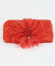 Tia Hair Accessories Flower Frill Headband - Red