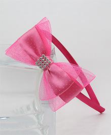 Tia Hair Accessories Polka Dot Bow Hairband - Pink
