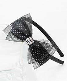 Tia Hair Accessories Polka Dot Bow Hairband - Black