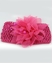 Tia Hair Accessories Netted Flower Headband With Pearls - Pink
