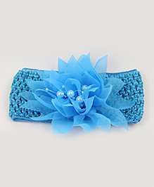 Tia Hair Accessories Netted Flower Headband With Pearls - Blue