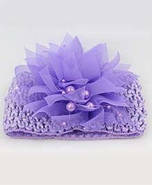 Tia Hair Accessories Netted Flower Headband With Pearls - Lavender