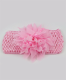 Tia Hair Accessories Netted Flower Headband With Pearls - Baby Pink
