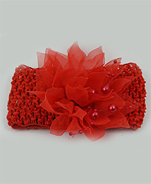 Tia Hair Accessories Netted Flower Headband With Pearls - Red