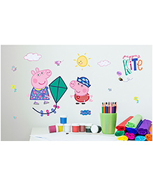 Asian Paints Peel & Stick Peppa Pig Large Wall Sticker Pack Of 11 Pieces - Multicolour