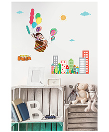 Asian Paints Peel And Stick Chhota Bheem Flying With Chutki Wall Sticker Extra Large - Multicolor