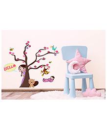 Asian Paints Peel And Stick Chhota Bheem And Chutki Hiding Wall Sticker Extra Large - Multicolor