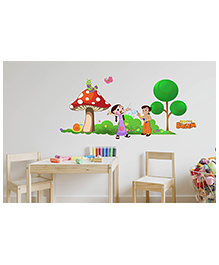 Asian Paints Peel And Stick Chhota Bheem Playing In The Garden Wall Sticker XXLarge - Multicolor
