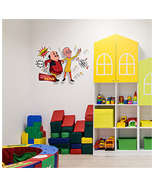 Asian Paints Peel And Stick Motu Patlu Dynamic Springs Wall Sticker Extra Large - Multicolor