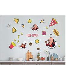 Asian Paints Peel & Stick Motu Patlu Yummy Food Lovers Wall Sticker XXL - Multi Color