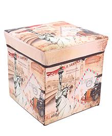 Square Shaped Foldable Storage Box Statue Of Liberty Print - Peach
