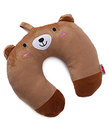 Neck Support Pillow With Loop Bear Face Design - Brown