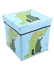Storage Box With Lid Crocodile Print - Blue