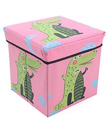 Storage Box With Lid Crocodile Print - Pink