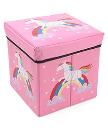Storage Box With Lid Unicorn Print - Pink