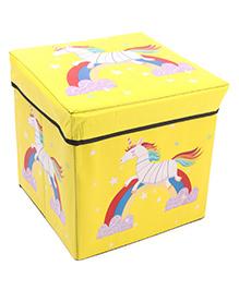 Storage Box With Lid Unicorn Print - Yellow
