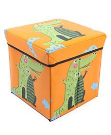 Storage Box With Lid Crocodile Print - Orange
