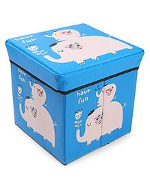 Storage Box With Lid Elephant Print - Blue
