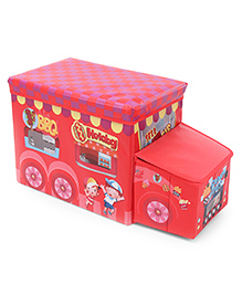 Bus Shaped Foldable Storage Box With Cover - Red