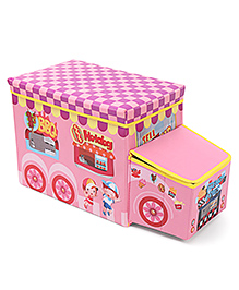 Bus Shaped Foldable Storage Box With Cover - Pink