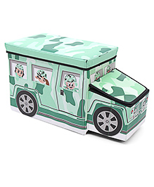 Bus Shaped Foldable Storage Box With Cover - Green