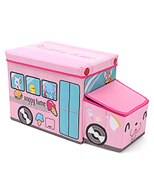 Foldable Storage Box With Cover Bus Shape -pink And Happy Time Printed
