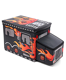 Foldable Storage Box With Cover Bus Shape - Black