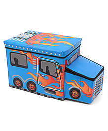 Foldable Storage Box With Cover Bus Shape - Light Blue
