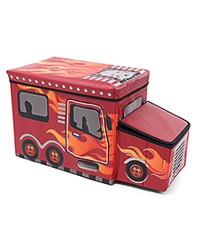 Foldable Storage Box With Cover Bus Shape - Red