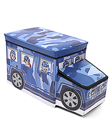 Foldable Storage Box With Cover Bus Shape - Blue