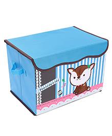 Foldable Storage Box Animal Embroidered - Blue