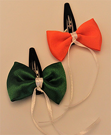 Many Frocks & Pack Of Two Tricolour Bow Hair Clip - Green Orange & White