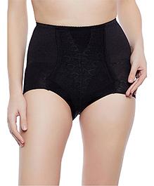 Clovia Tummy Tucking High Waist Brief Patterned Sheer Fabric - Black