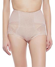 Clovia Tummy Tucking High Waist Brief Patterned Sheer Fabric - Beige