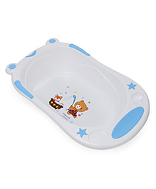 Baby Bath Tub Bear Print - White & Blue