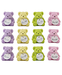 Party Propz Teddy Bear Shaped Erasers Cum Sharpener Multi Color - Set Of 12