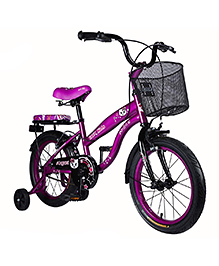 Vaux Angel Bicycle With Basket Purple - 16 Inches
