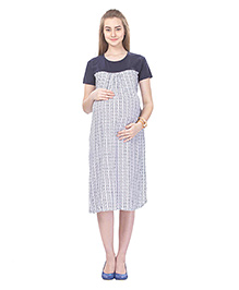 MomToBe Short Sleeves Rayon Maternity Dress - Blue White