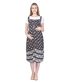 MomToBe Short Sleeves Maternity Dress Flower Print - Black