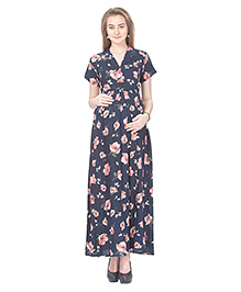 MomToBe Rayon Short Sleeves Maternity Dress - Blue