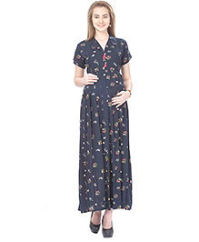 MomToBe Rayon Short Sleeves Maternity Dress Floral Print - Blue