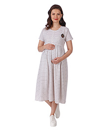 MomToBe Half Sleeves Striped Maternity Dress - White
