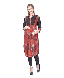 MomToBe Three Fourth Sleeves Maternity Kurti - Black & Maroon